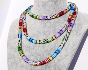 "Bead crochet lariat - the Long necklace from beads of ""Paint of summer"""