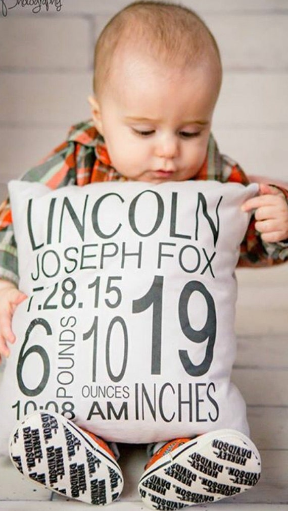 Custom personalized baby pillow cover nursery decor baby like this item negle Choice Image