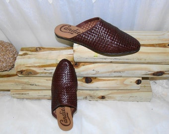 Womens CANDIES Brown Leather Woven Shoes Mules Slides Sandles Sz 7 M