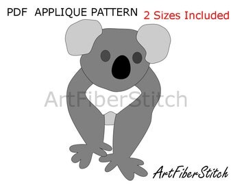 Koala Applique  PDF Template Pattern - available for instant download from ArtFiberStitch