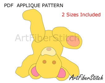 Upside-down Teddy  PDF Applique Template Pattern - available for instant download from ArtFiberStitch