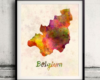 Belgium - Map in watercolor - Fine Art Print Glicee Poster Decor Home Gift Illustration Wall Art Countries Colorful - SKU 1683
