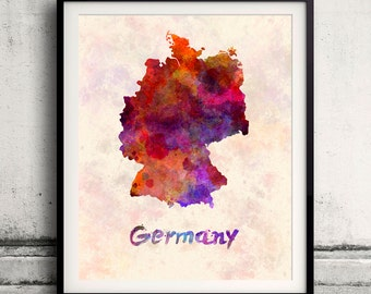 Germany - Map in watercolor - Fine Art Print Glicee Poster Decor Home Gift Illustration Wall Art Countries Colorful - SKU 1693