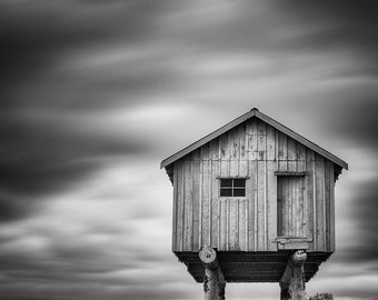 Light Shed Sculpture, Vancouver – Fine Art Photograph, Vancouver Art, Vancouver Photo, Cabin, Stilts, LightShed, Clouds