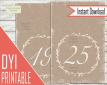 Printable Rustic Wedding Table Numbers 1 - 26,  Instant Download, Printable Rustic Table Numbers, Events, Banquet, Anniversary, Reception