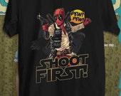 Deadpool Hans Solo Funny Characters T-shirt Movie T-shirt Unisex Adult T-shirt Cool T-shirt Short Sleeve T-shirt Ultra Cotton T-shirt