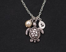 initial necklace, sea turtle necklace, Swarovski pearl choice, silver turtle charm on silver plated chain, friend gift idea, spring jewelry