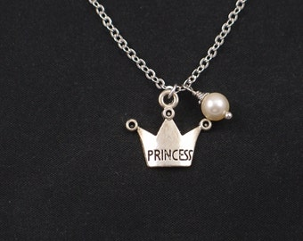 princess crown necklace, Swarovski pearl choice, silver crown charm, monarchy, royal, queen, princess jewelry, gift for her,little girl gift