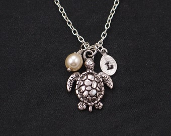 sea turtle necklace, sterling silver filled, initial necklace, Swarovski pearl choice, silver turtle charm on silver chain, friend gift idea
