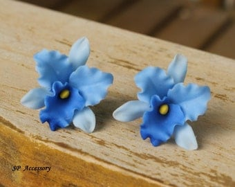 orchid earrings, clay flower, flower earrings, earrings clay, colorful earrings, clay flower earrings