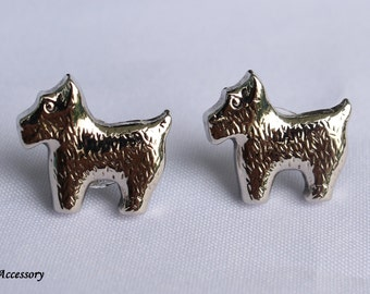 Vintage earrings, silver dog earrings, metallic dog stud