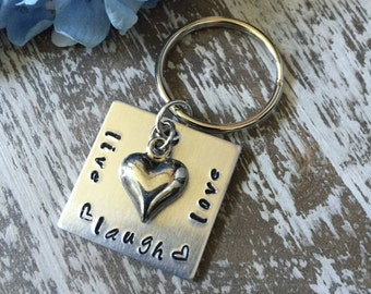 Live Laugh Love Custom Hand Stamped Keychain