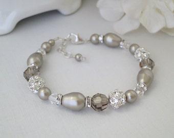 Platinum pearl wedding bracelet, Swarovski pearl and crystal bracelet