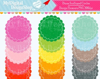 50% OFF SALE Diana Scalloped Circles PNG Clip Art Images Textured Polka Dot Pattern Scrapbooking Clipart Images Personal & Commercial |C079