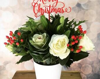 Merry Christmas Flower Topper