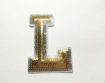 Alphabet Letter L Iron on Patch - Gold Sequin L, Glitter Applique Embroidered Iron on Patch - Size 5.4x7.7 cm#T2