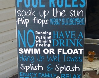 pool sign pool rules wooden wall art hand painted home decor - Pool Signs