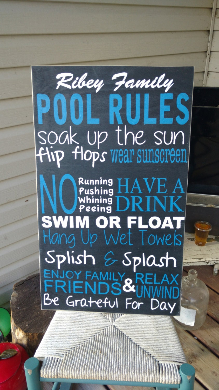 Pool Sign Pool Rules Wooden Wall Art Hand Painted Home