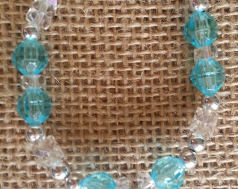 Clear Blue bracelet, with Feather Charm