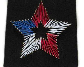 American Flag Star String Art, patriotic, Independence day, 4th of July, red white & blue, wall decor, stars, stripes