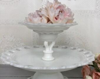Milk Glass Dessert Stand / Two-Tiered Vintage Milk Glass Dessert Stand /  Milk Glass Dessert Pedestal