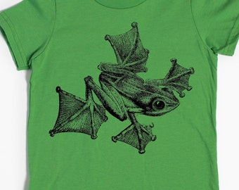 Children's T-shirt - Gliding Frog Shirt - Flying Frog - graphic t shirt - Child Gift