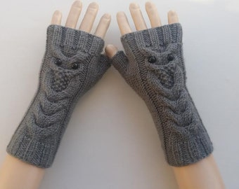 EXPRESS SHİPPİNG!Dark Gray Owl Hand-Knitted Fingerless Gloves/Winter Accessories/ReyyanCrochet