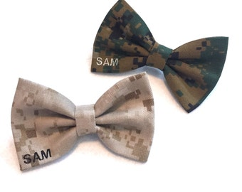 Military camo corner name bow (army acu, multicam/ocp, airforce abu, navy nwu, navy nwu III, marine woodland/desert, coast guard)