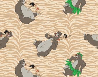 Jungle Book Fabric by Camelot Design Studio, Disney Fabric - Born to Boogie in Tan 85220104 #2 /  1 Yard Cuts - 1/2 Yard Cuts - Fat Quarters