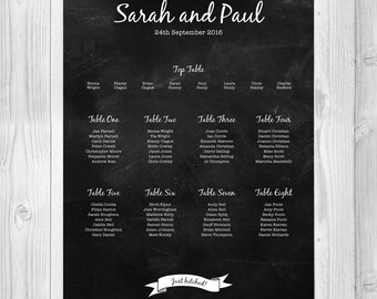 Chalkboard Vintage Wedding Table Plan / Seating Plan / Table Planner / Seating Chart