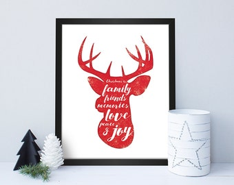 Christmas Reindeer Head / Christmas Print / Christmas Poster / Christmas Decoration / Wall Art / Christmas Home Decor