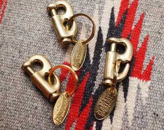Brass S-shaped Snap Hook Keychain