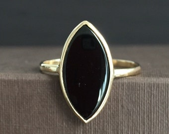 14k solid yellow gold and black onyx ring, marquise cut