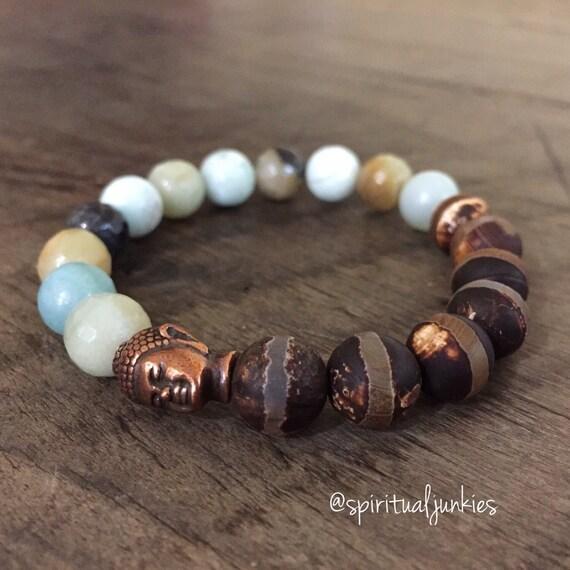 Stackable Funky Chunky 10 mm Mala Inspired Fire Etched Dzi Agate, Faceted Amazonite + Buddha Yoga and Meditation Bracelet (Single Bracelet)