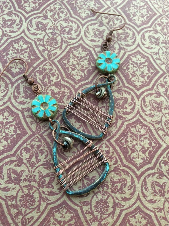 All Wrapped Up...Hipster Dangle Earrings, Verdigris, Copper Charms, Bohemian, Wire Wrapped, Rustic, Earthy, JustSlightlyVintage
