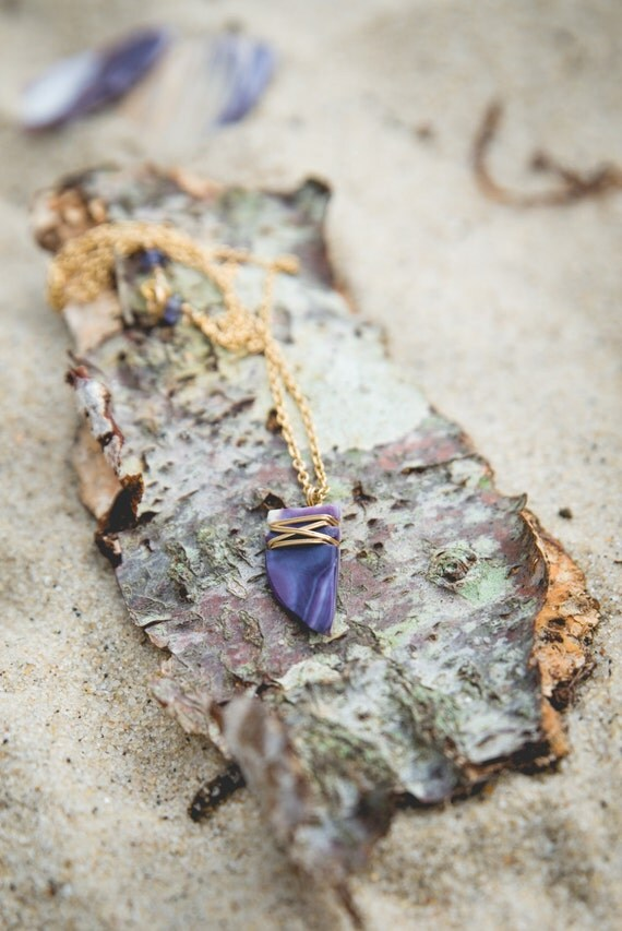 "wampum fang necklace on 14kt gold filled chain 16"" handmade on martha's vineyard"