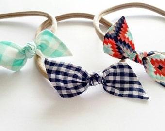 Baby nylon headbands {Aztec} Bitsy knot bow set