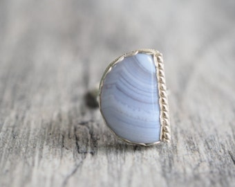 Blue lace agate ring, sterling silver agate ring, silver agate ring, silver gemstone ring, blue lace agate jewelry, size 7 ring