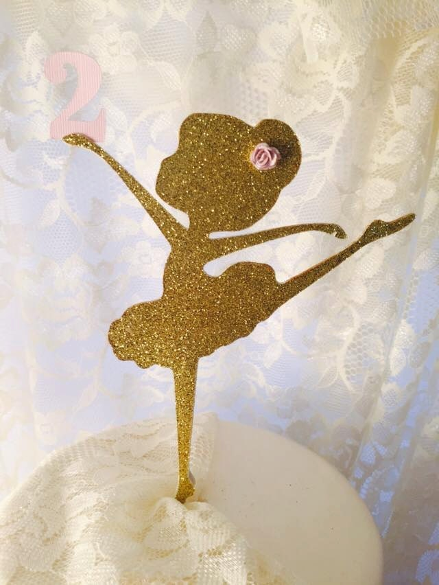 Cake Topper Ballerina Dancer Gold Glitter Decoration For