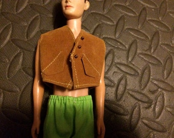 Ken Doll Clothes, Ken Doll Wardrobe, Ken 60s, Ken Vest, Ken Suede, Ken Cowboy, Ken Biker, Boy Doll Clothing, Ken Doll Outfit, Ken Hippie