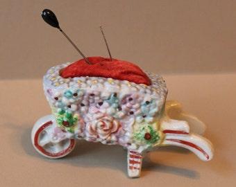 1940's Pin Cushion - Flower Covered Wheelbarrow Pin Cushion - Adorable Vintage Collectible