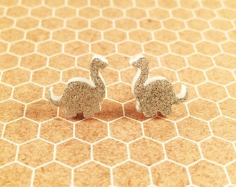 Glitter Brontosaurus earrings, dinosaur earrings, dinosaur studs, dino studs