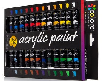 Colore Acrylic Paint Set - 24 Colors- Perfect For Painting Canvas, Wood, Clay, Fabric, Nail Art And Ceramic