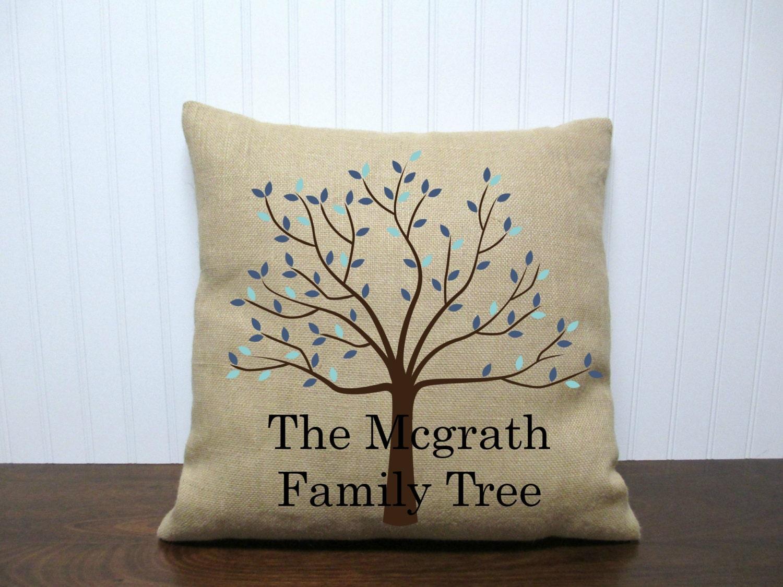 Family Tree Wedding Gift: Personalized Family Tree Pillow. Custom Pillow. Wedding Gift