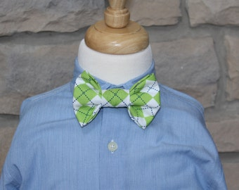 Little Boy Bow Tie, Infant/Toddler Green Argyle Bow Tie with Adjustable Velcro Neck Band, Easter Tie, St. Patrick's Day Tie, Ready to Ship