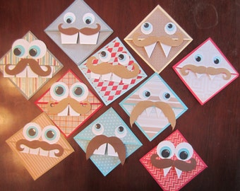 Mustache Monster Bookmarks, Hipster Assessory