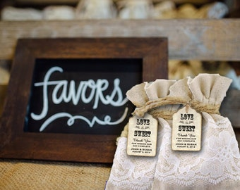 Rustic Wedding Favor Bags with tags - wedding favor bags- wedding favor tags -favor tags - favor bags