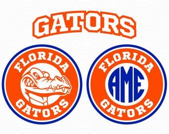 Florida Gators Monogram Frames (SVG, EPS, DXF, Studio3) Gator Chomp Cut Files for Silhouette Studio, Cricut Design Space, Cutting Machines