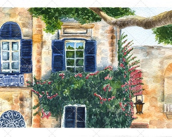 Maltese house Watercolor painting