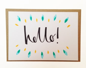 Hello! - A6 calligraphy folded greetings card / bonjour / thank you